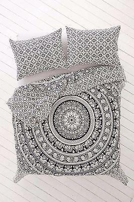 Queen Elefante Mandala Hippy cubierta ropa de cama Cobertor India Hecho A Mano Funda Nórdica
