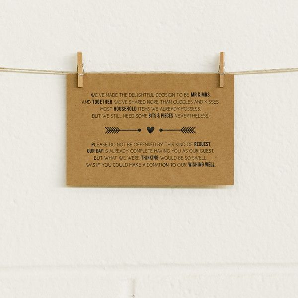 'Tie the Knot' Black Foil on Kraft, Wishing Well Cards, 10pk