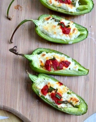 SO MANY JALAPENOS!! these With goat cheese, low-fat cream cheese, Parmesan, sage, roasted red pepper, and chives.