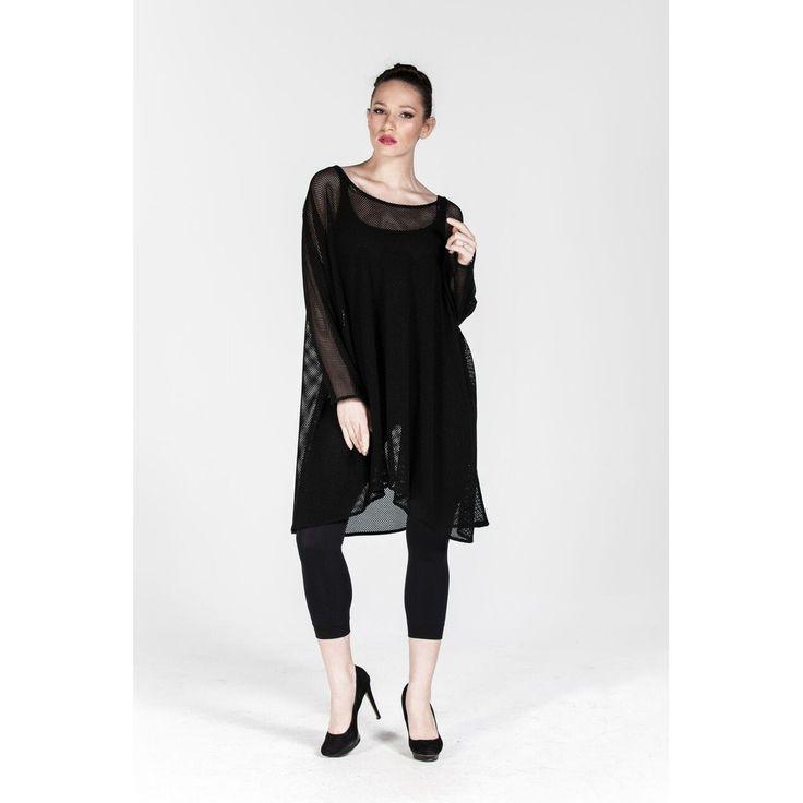 Plus size Black Fishnet Mini Dress