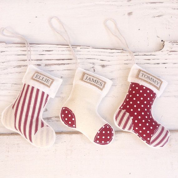 Personalised Christmas Decorations Mini Stocking Fabric Felt Handmade - Burgundy Red and Cream- Primitive Christmas- Tree Ornament