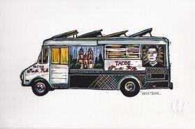 Truck III Linocut Eric Rewitzer