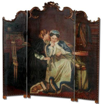 """Parlour Secrets Room Divider    A magnificent free-standing original art work will transform a formal room into a stately drawing room in a manor house. Handpainted wood. 75 x 75""""."""