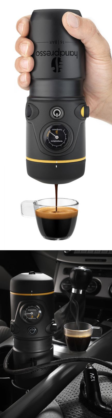 This is absolutely for me! Portable Coffee Maker // simply plug the Handpresso into your car and have fresh brewed espresso on the go within minutes! Genius design! #product_design