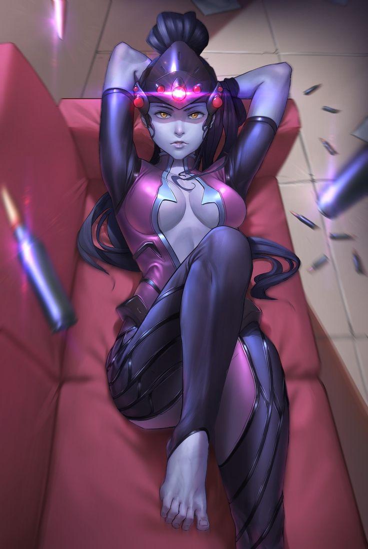 Anime 1200x1789 anime girls Overwatch bodysuit cleavage feet no bra video games Blizzard Entertainment artwork digital art Widowmaker (Overwatch)