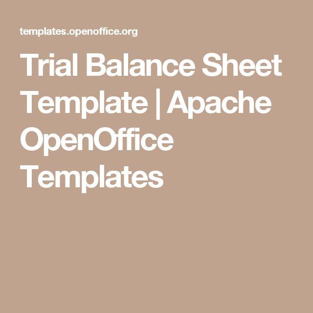 Trial Balance Sheet Template | Apache OpenOffice Templates