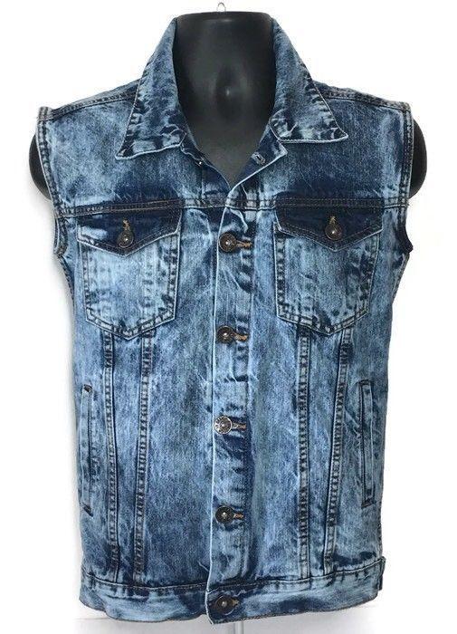 091777b335 Evolution in Design Denim Trucker Vest XL Biker Acid Wash Blue Grunge Men
