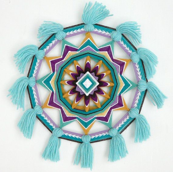 Gemstone Melody, an 14 inch, 12-sided Ojo de Dios mandala