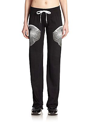Norma Kamali Cotton Elephant Print Sweatpants - Black - Size