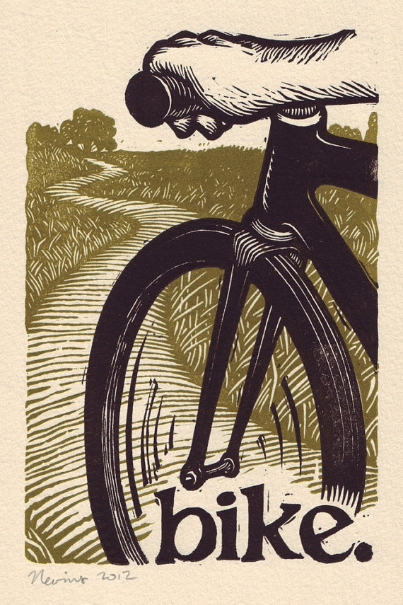 bike   A linocut print on Arches cream paper by peternevins, $25.00