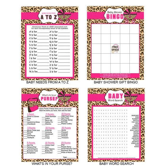 cheetah print baby shower party games by 850