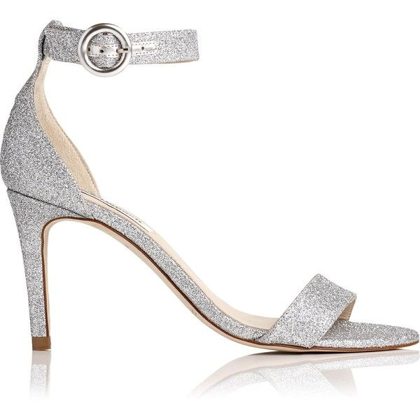 L.K. Bennett Dora Silver Glitter Formal Sandals (1,640 GTQ) ❤ liked on Polyvore featuring shoes, sandals, silver, silver glitter sandals, silver shoes, buckle strap sandals, silver strappy sandals and glitter sandals