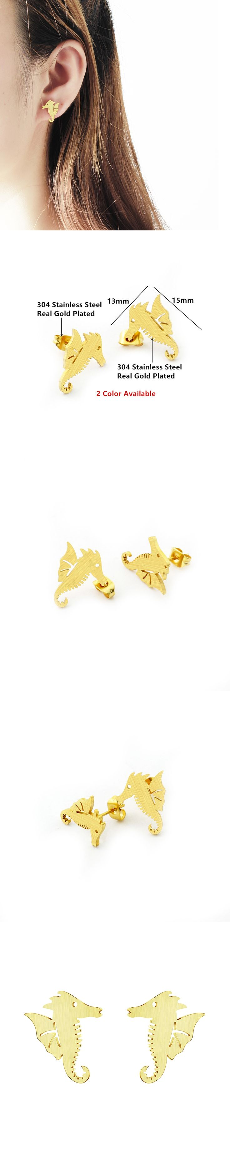 stud pin karat solid gold earrings real jewelry