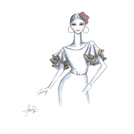 Blusa manga de capas. #moda #flamenca #patrones #volantes #lunares #sketch #dibujo #boceto #pintura #modelo