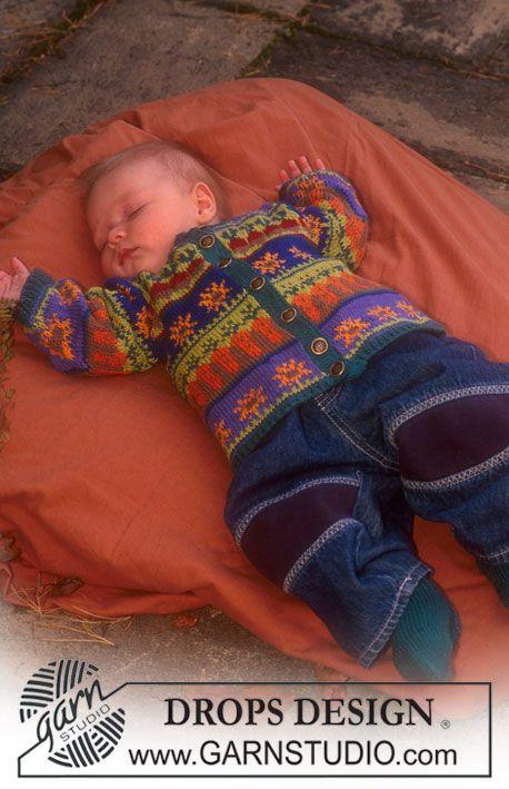 """DROPS Babyvest met ingebreide motieven van """"Safran"""" ~ DROPS Design"""