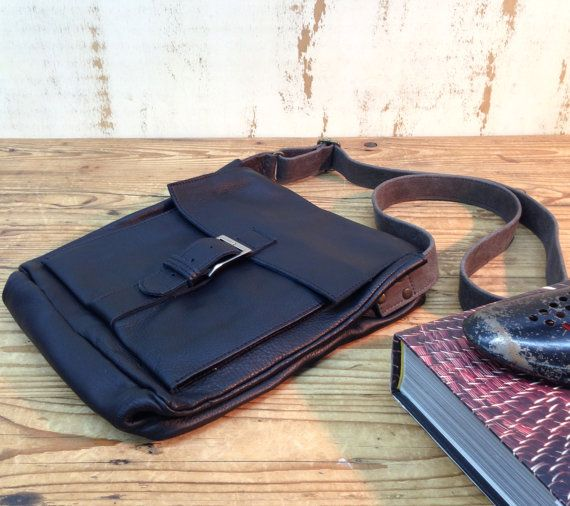 SALE!!! Black Leather messenger bag Small Men's bag leather bags for man Leather Crossbody bag iPad bag front pocket bag with buckle