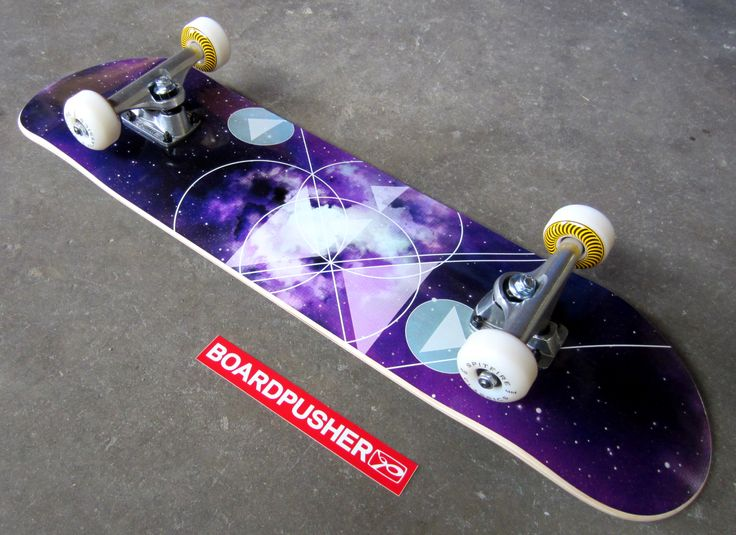 This Featured Deck was created by using the free Purple Space custom background available at www.BoardPusher.com/custom/skateboard-designer and then completed by adding Bullet Trucks & 55mm Spitfire Wheels.
