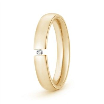 Men's Diamond wedding Ring - Tension Setting - Expertly crafted in your choice of gold or platinum, this unique men's wedding band features a tension set brilliant round diamond. It is rounded from inside for a comfortable wear.