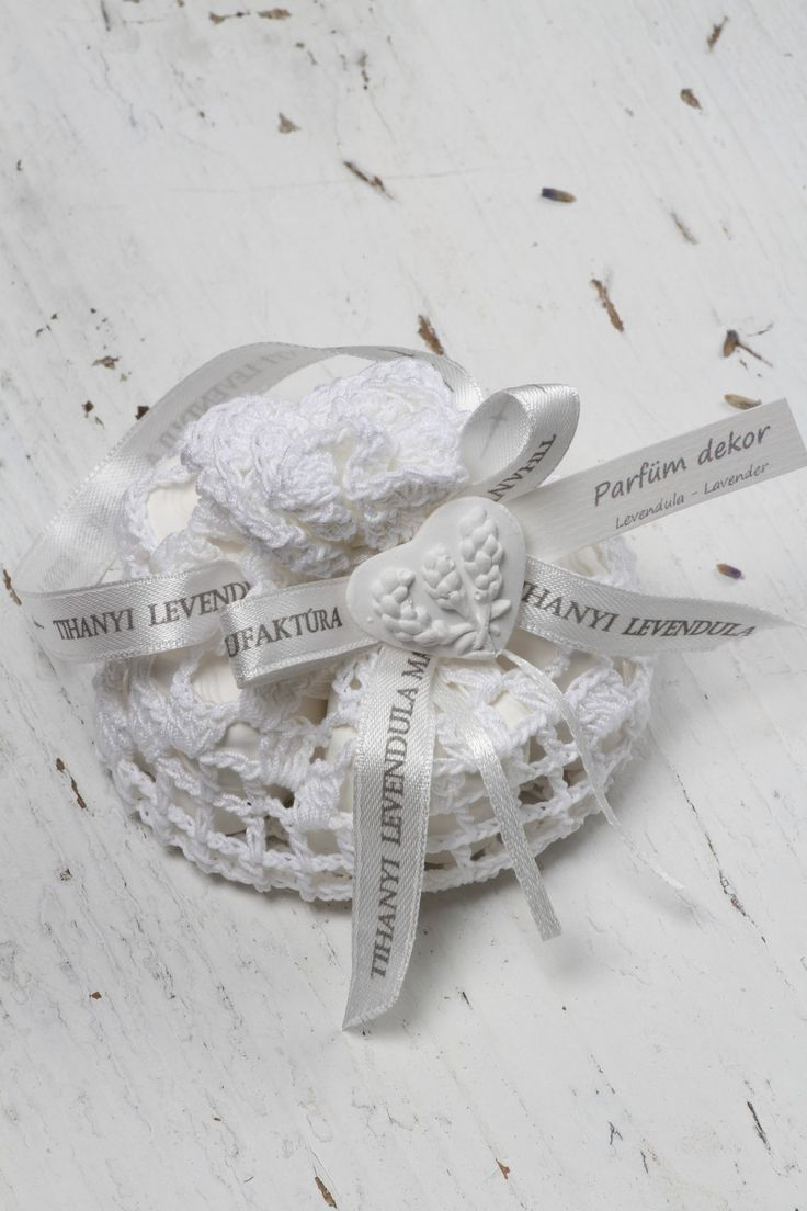 Hand Crafted Lavender Clay Hearts resting in Gorgeously hand knitted mesh. Authentic French lavender scent spiked with organic lavender essential oils, an honest, clean lavender scent