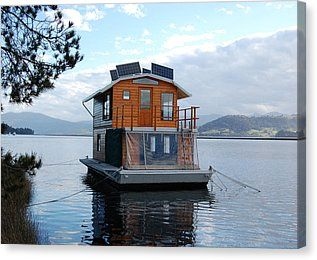 House-boat On The Huan River Canvas Print by Sarah King