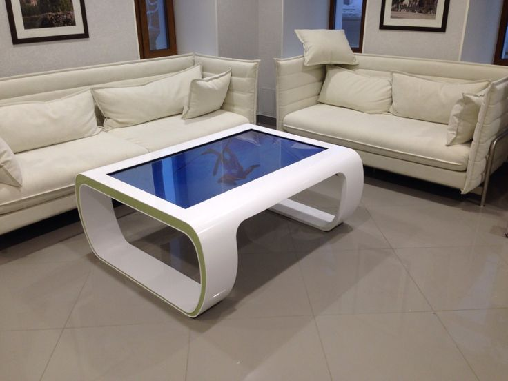 """Supreme Stone SBLine 55"""" #multitouch tables made of #Corian and powered by custom SnowFlake addition. Installed in special Sberbank office in Krasnoyarsk, Russia."""