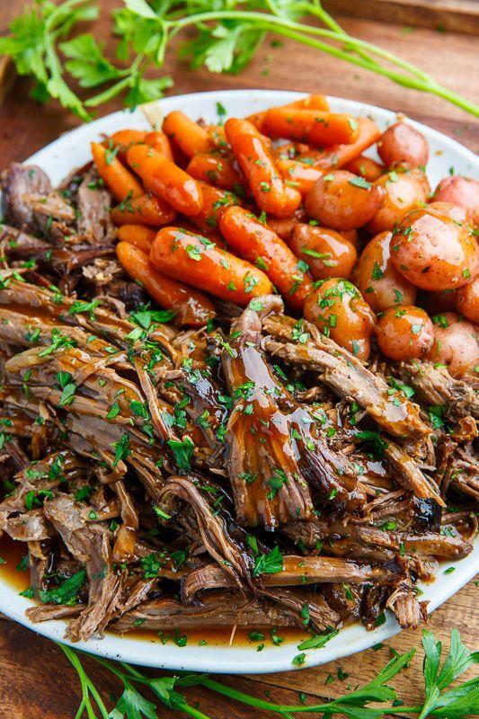 seasoned roast beef in a slow cooker