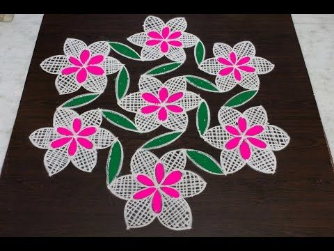 flower kolam designs with 9x5 dots || chukkala muggulu designs with dots || easy rangoli designs - YouTube