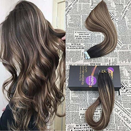 50g Tape In Balayage Brazilian Remy Human Hair Extension1B327