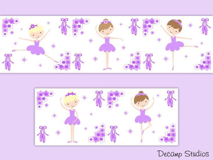 Ballerina Wallpaper Border Wall Art Decals Girl Purple Nursery Room Stickers   #decampstudios