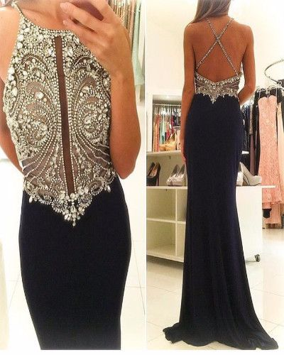 A4-Halter High Neck Mermaid Prom Dresses Black Jersey Open Back Gowns