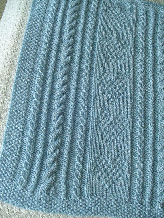 Baby Blanket 8 blu Blue Baby Blanket Handknit di Ednascloset