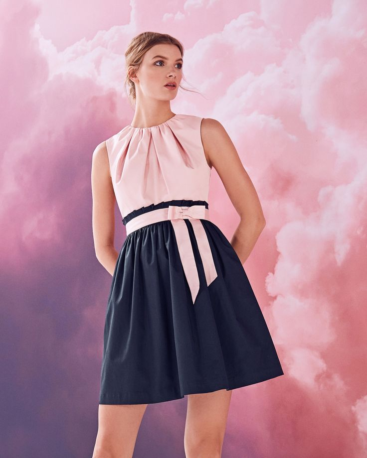 Frilled waist tie cotton-blend dress - Dusky Pink | Dresses | Ted Baker