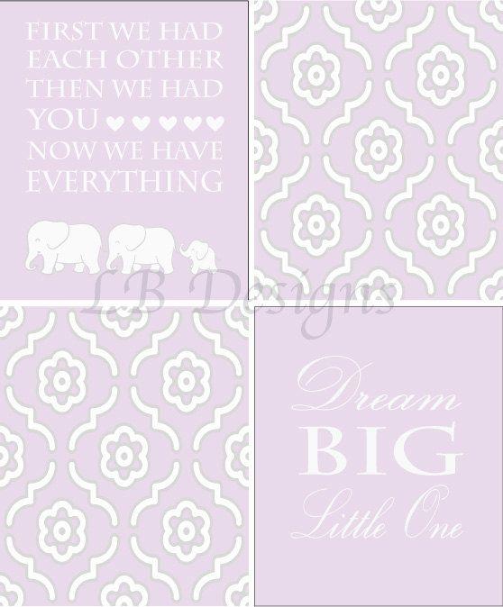 Purple and White Nursery, Girl's Elephant Nursery Decor, Purple Elephant Decor - 8x10s