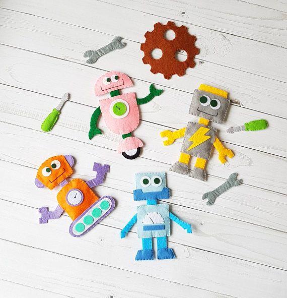 felt robot toy robot stuffed monster toys robot aliens toys robot baby decor garland robot robot decoration robot ornaments
