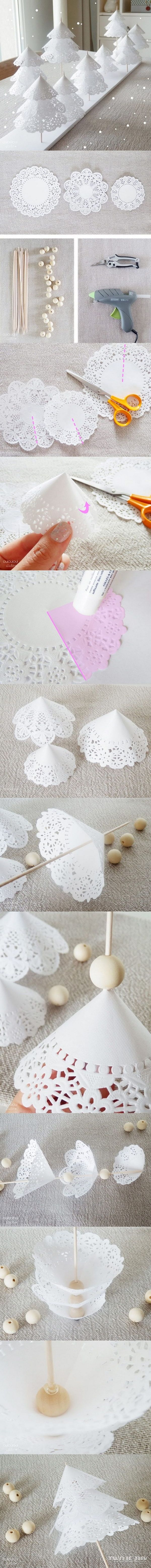 DIY Paper Doily Christmas Trees Origin: http://ouiouiouistudio.blogspot.fr/2013/12/diy-une-foret-de-sapins-en-napperons-de Need: - Paper napkins of different sizes (17, 15 and 11cm) - Skewers and wood beads (2.5 cm) 1) cut out the doilies, glue 1/4 of paper doily 2) Fold it to form a paper cone 3) Slide the smallest doily on a skewer, put a wooden bead, then repeat twice more 4) Hot glue the last bead 5) Cut the skewers at different heights. Stick them on a foam board to create your forest
