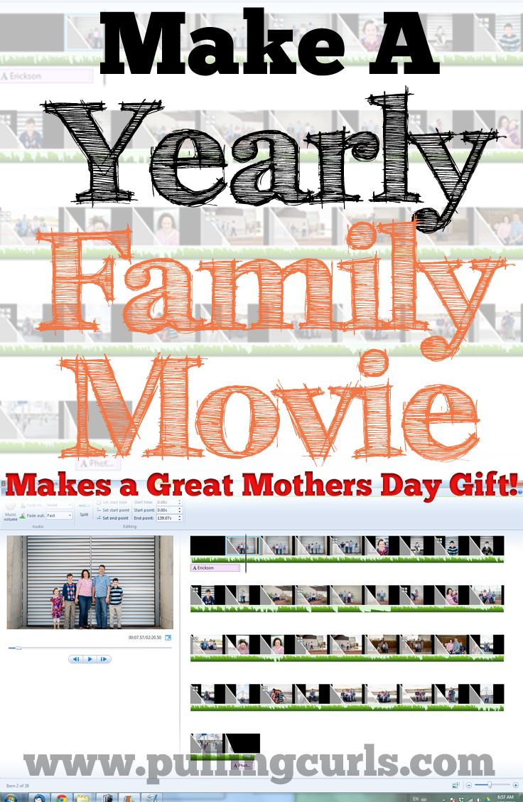 Make a yearly family video for your family to enjoy together.  Also makes a GREAT mother's day/birthday/Christmas gift for family that is away!  #pullingcurls