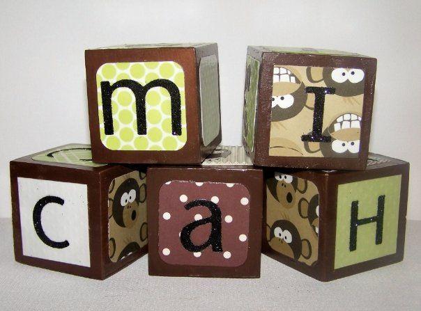 Baby boy name blocks. Monkey theme