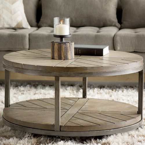 Featuring A Round Silhouette, Caster Base And Contrasting Wood And Iron  Design, The Drossett Coffee Table Lends A Factory Chic Touch To Your Den Or  Parlor ...