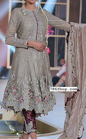 Rose Grey Silk Suit | Buy Pakistani Fashion Dresses and Clothing Online in USA, UK