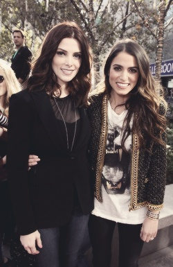 Visiting tent city - Ashley Greene and Nikki Reed