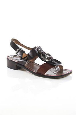 Marni Brown Black Leather O-Ring Ankle Strap Sandals Size 39 9