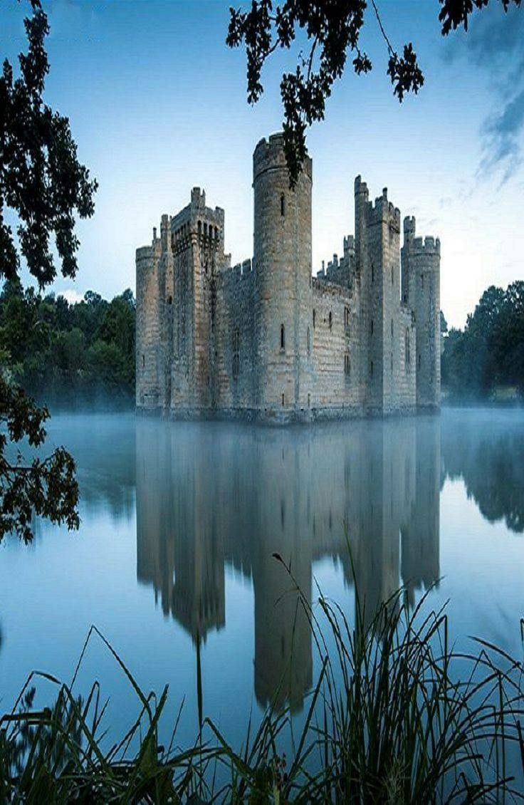 Bodiam Castle, a 14th Century moated castle near Robertsbridge in East Sussex