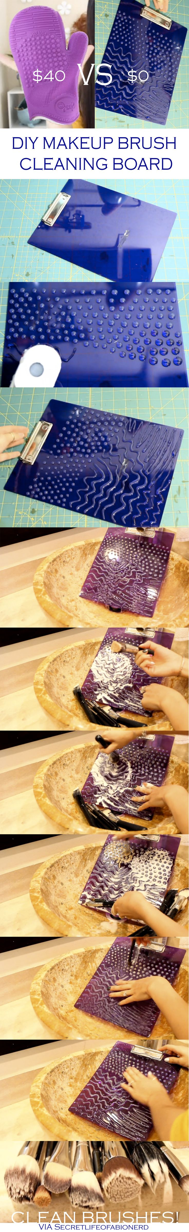 DIY Makeup Brush Cleaning Board - Via SecretLifeOfaBioNerd http://www.youtube.com/watch?v=Zeefo2wZ14k