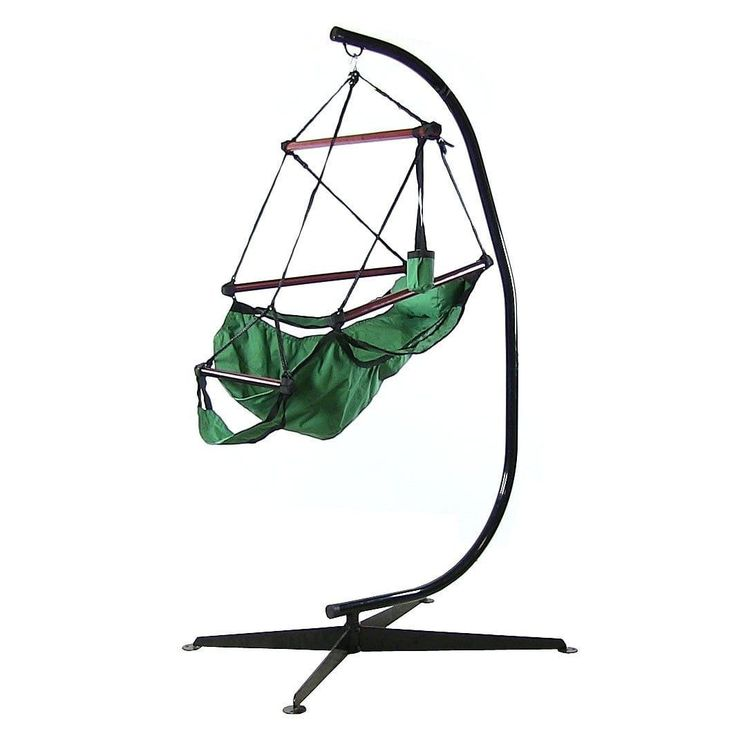 Sunnydaze Hanging Hammock Chair & Hammock Stand Combo W/ Pillow & Drink Holder (Green), Patio Furniture (Polyester)
