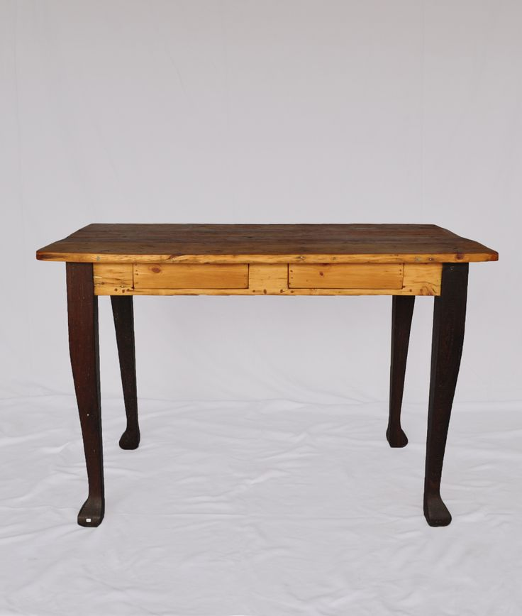#NorthcliffAntiques SOLD!  This reconstituted table has original legs made of teak and a reclaimed wood top, with two frieze drawers.  We also stock a wide variety of handles to choose from. www.northcliffantiques.com #AntiquesShops #Johannesburg #Tables #ReclaimedWood