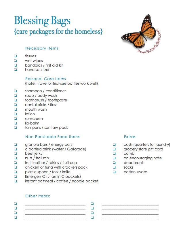 Blessing Bags Checklist: what to include when making blessing bags or care packages for the homeless