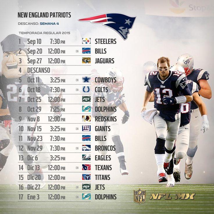 #NFL 2015: Te compartimos los calendarios de tus equipos favoritos para esta Temporada.   Con LIVE TOURS #YaEstásAhí  Por: #NFLMéxico  #PATRIOTS