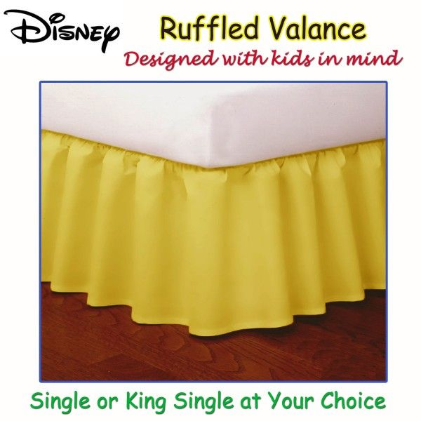 This Yellow Ruffled Bed Valance by Disney is a bright and fun addition to your kid's room.