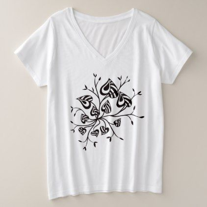 #Tattoo Style Abstract Floral With Pointy Leaves Plus Size V-Neck T-Shirt - #flower gifts floral flowers diy