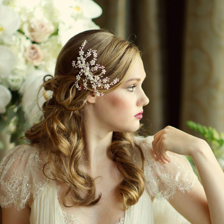 Vintage Inspired Crystal & Pearl Bridal Hair Comb